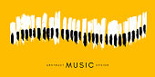 Piano concert poster. Music conceptual illustration. Abstract style yellow background with hand drawn piano keyboard.