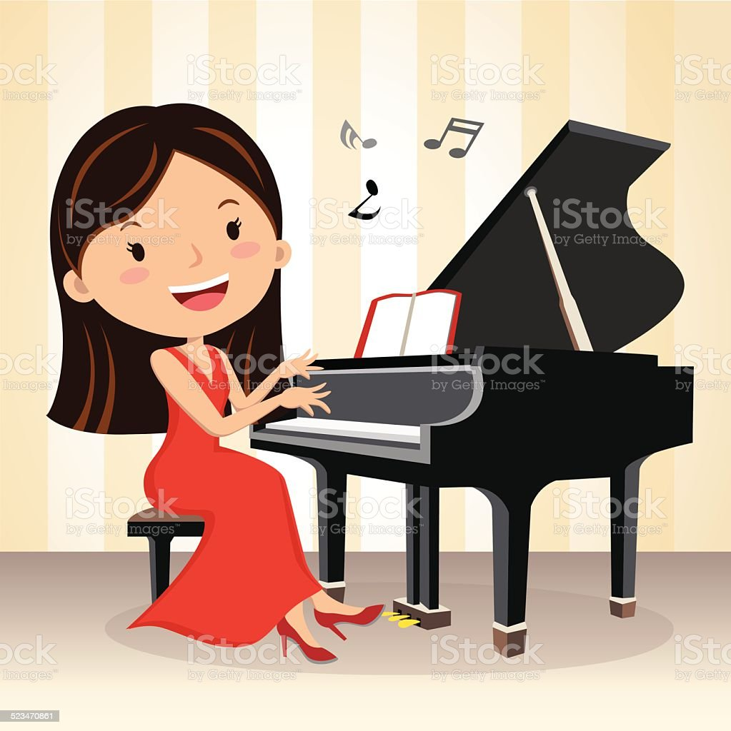 Pianist. Beautiful young woman playing piano on the stage.