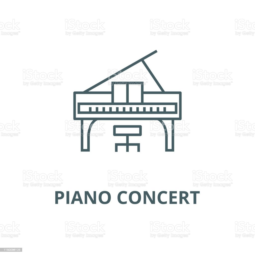 Piano concert vector line icon, outline concept, linear sign