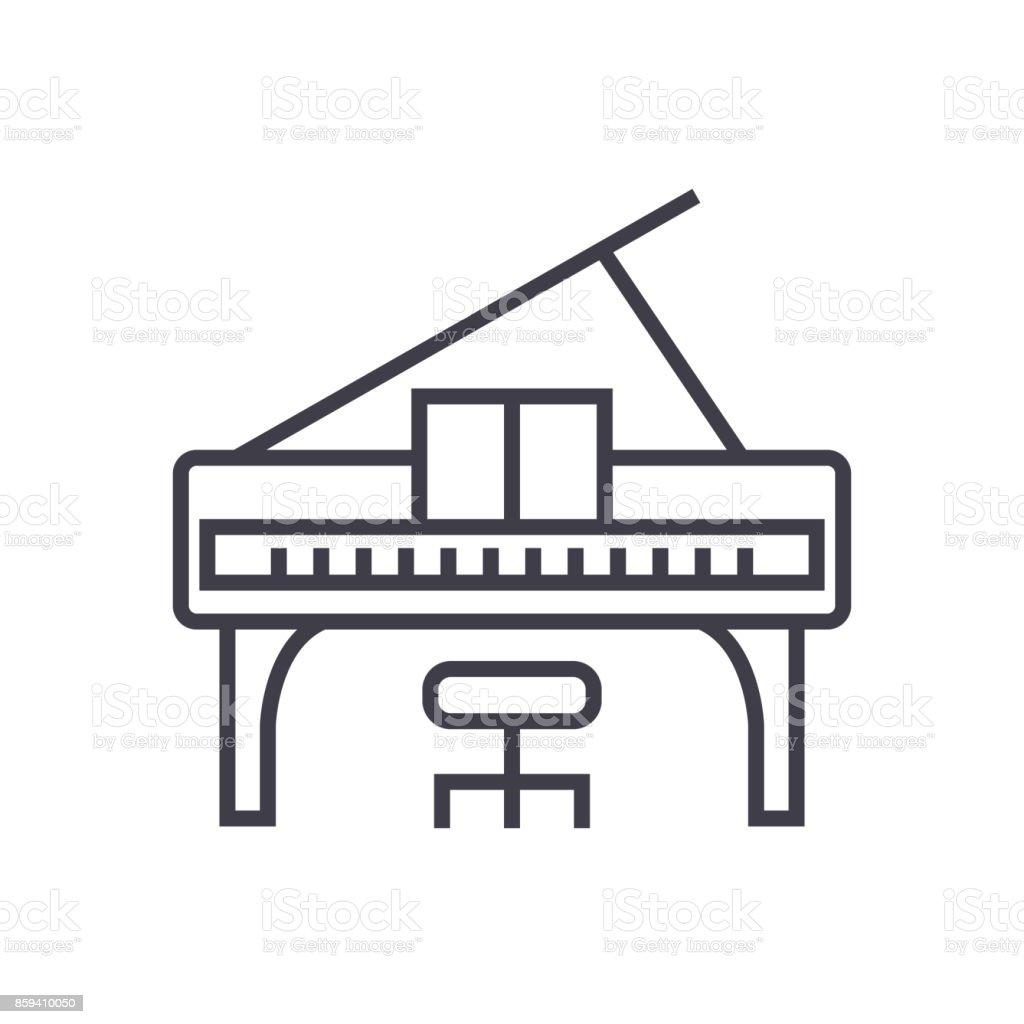 Ilustración de Concierto De Piano Vector Línea Icono Signo ...