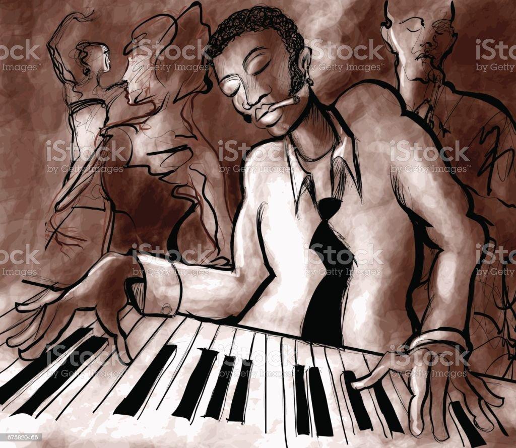 Piano jazz, singer and saxophonist vektör sanat illüstrasyonu