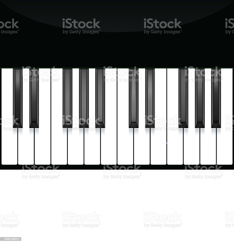 Piano Key Keyboard Instrument Musical Flat Background Vector