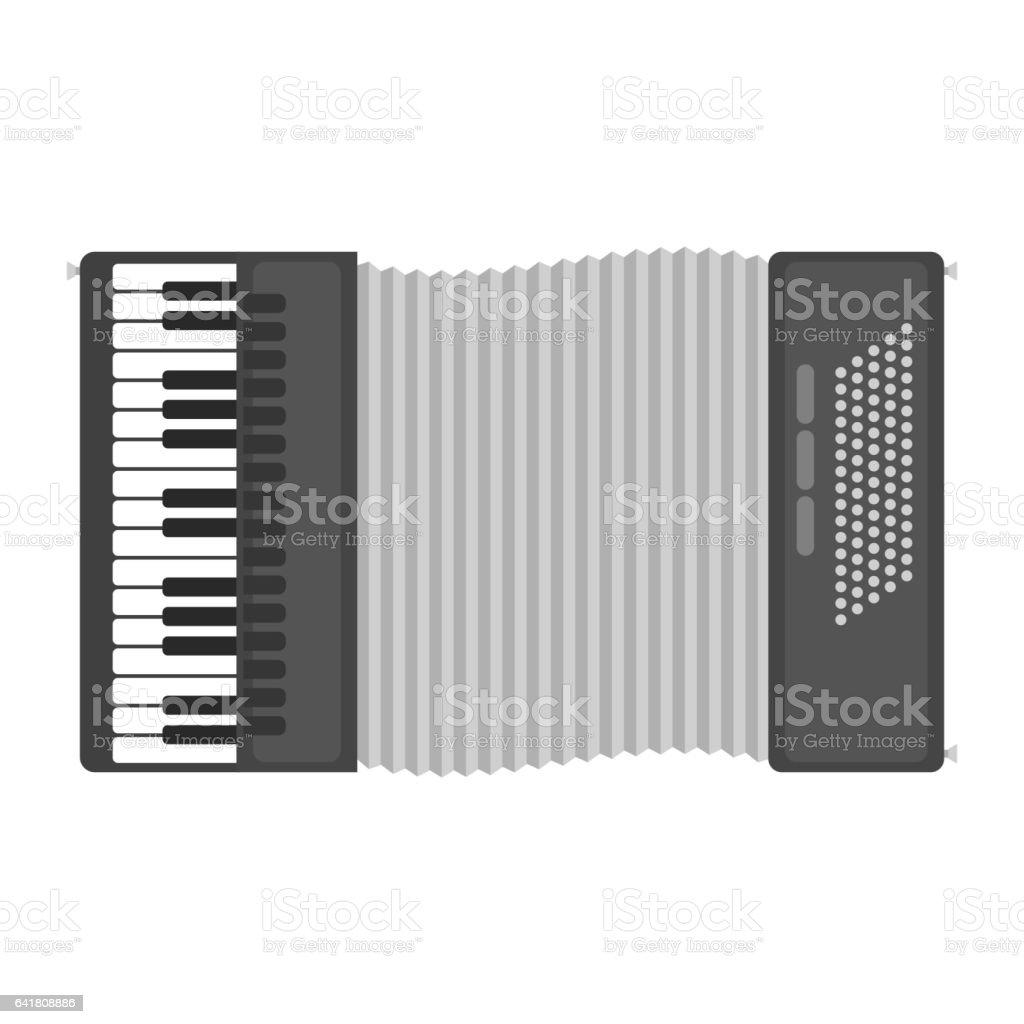 Klaviertastatur-Akkordeon Mundharmonika-Musikinstrument-Vektor-illustration – Vektorgrafik