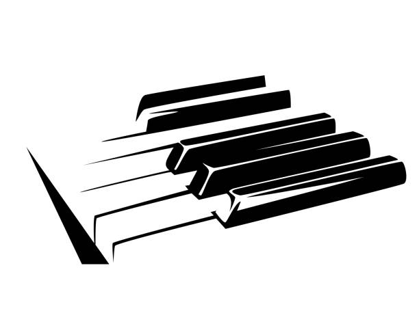 bildbanksillustrationer, clip art samt tecknat material och ikoner med piano tangentbord svart vektor design - piano