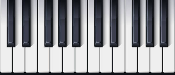 piano keyboard seamless. top view. realistic detailed shaded piano keys. simple beautiful design. musical background. music instrument. flat style vector illustration. - pianino instrument klawiszowy stock illustrations