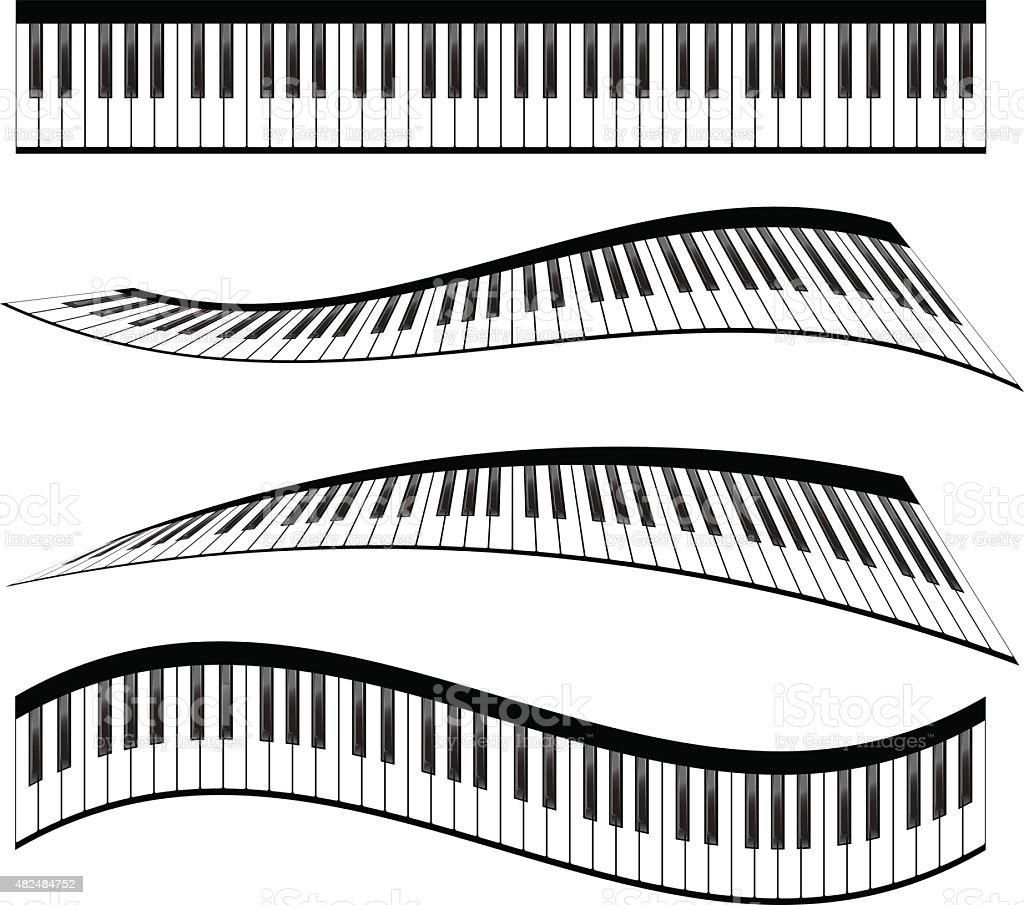 Piano keyboards vector art illustration