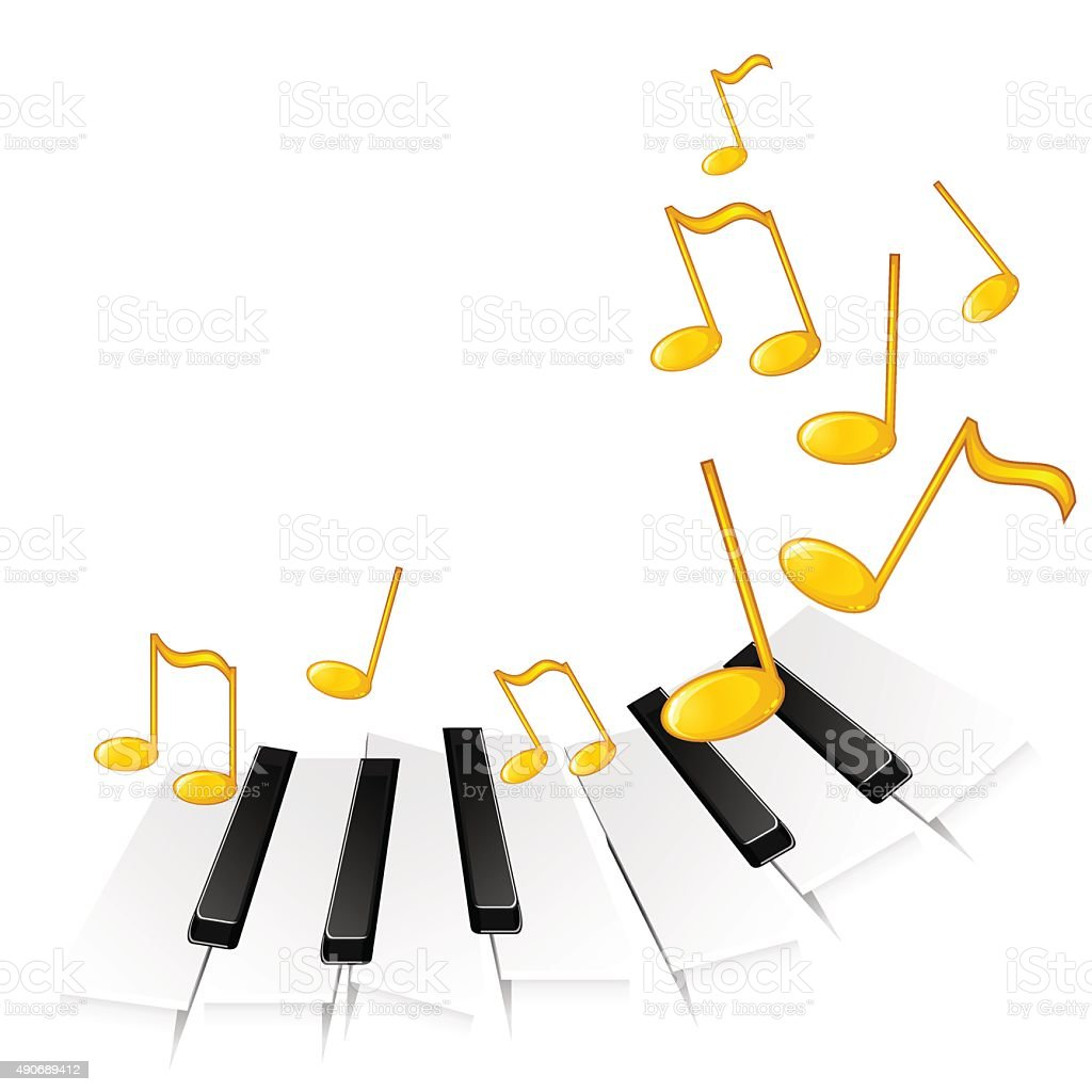Piano Keys And Gold Notes Stock Illustration - Download ...