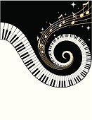 Piano Keys and  golden Notes
