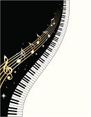 Vector illustration of endless piano keys and notes. Includes ai8.eps & .jpeg formats.