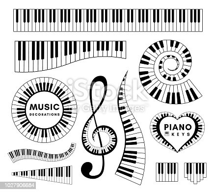 Piano keys decorative design elements. Set of musical vector isolated decorations.