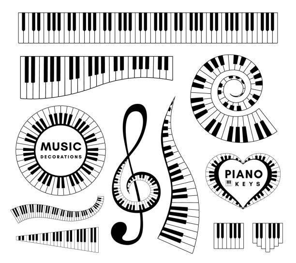 piano keys decorative design elements. set of musical vector isolated decorations. - pianino instrument klawiszowy stock illustrations