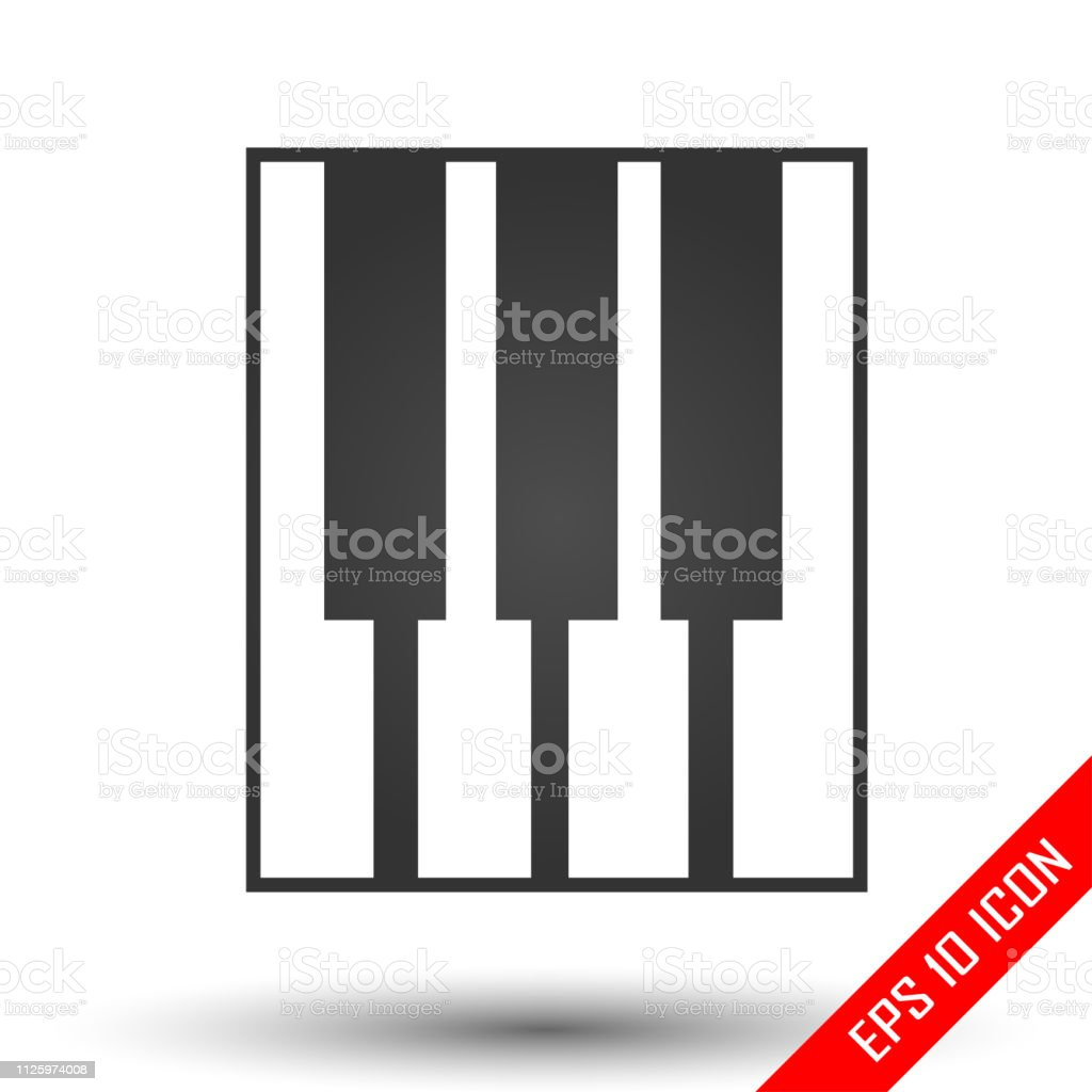 Piano keys icon. Simple flat logo of piano keys on white background....
