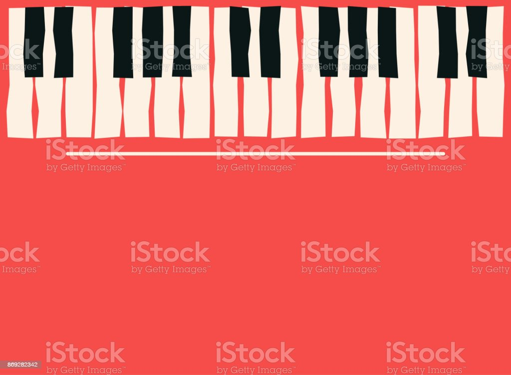 Piano keys. Music poster template. Jazz and blues music concert background