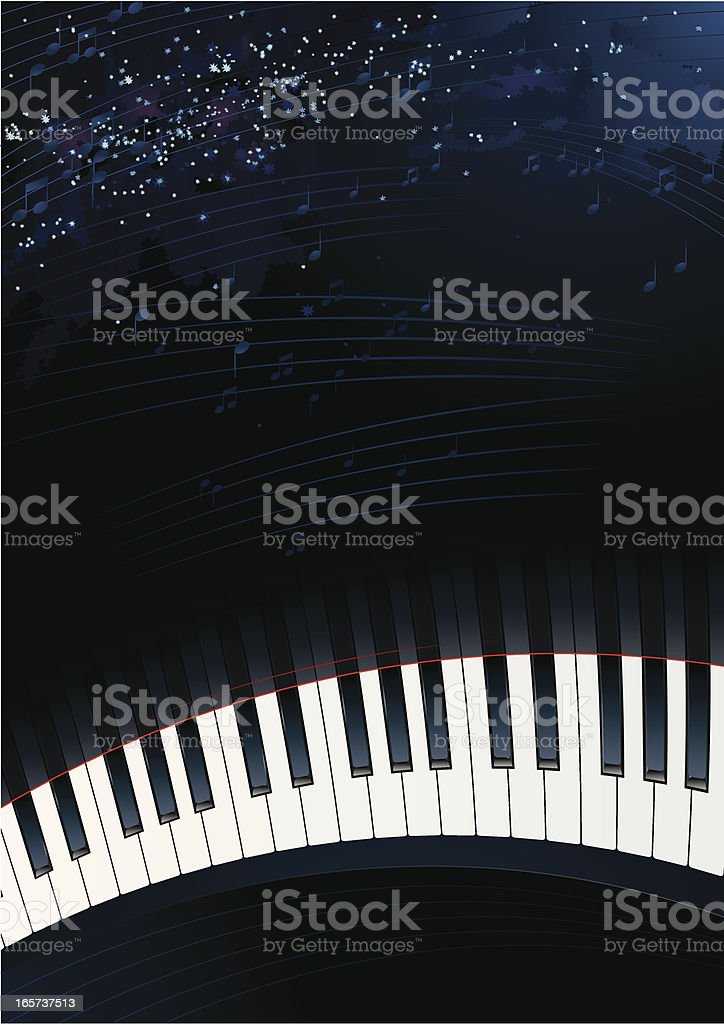 Piano Keys with Space Background royalty-free stock vector art