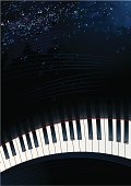 Piano Keys with Space Background