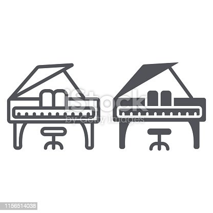 Piano line and glyph icon, music and sound, keyboard musical instrument sign, vector graphics, a linear pattern on a white background, eps 10.