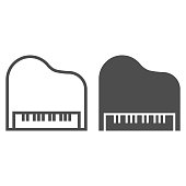 Piano line and glyph icon, musical and sound, instrument sign, vector graphics, a linear pattern on a white background.