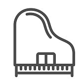 istock Piano line icon, Music instruments concept, synthesizer sign on white background, grand piano icon in outline style for mobile concept and web design. Vector graphics. 1249690879