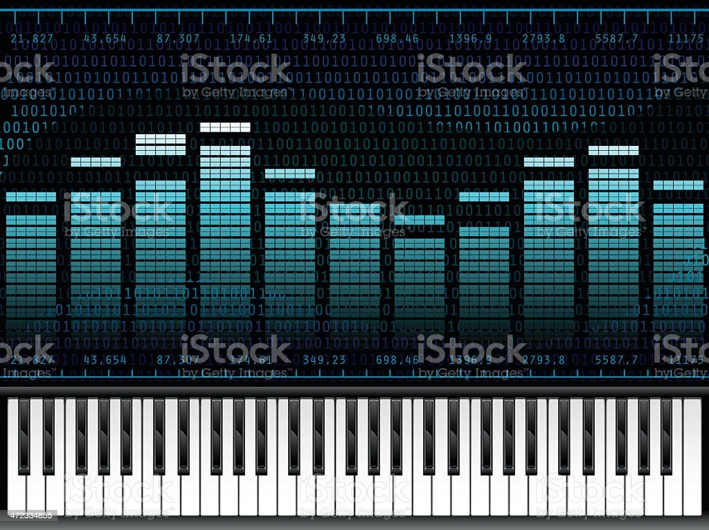 Piano Music at Digital Sound Equalizer royalty-free stock vector art