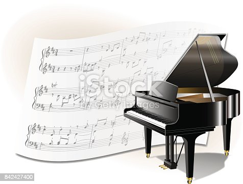 It is an illustration of a grand piano No5 and musical score as background.