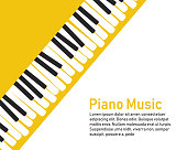 Grunge black and white piano keyboard. Piano on a yellow background.  Stock vector illustration for poster, music performance, jazz festival.