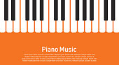 Grunge black and white piano keyboard. Piano on an orange background  Stock vector illustration for poster, music performance, jazz festival.