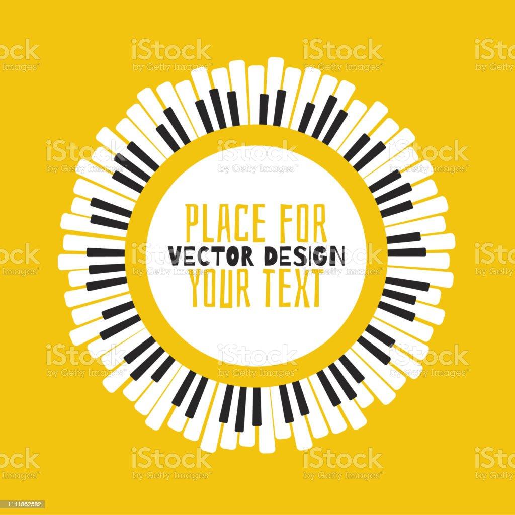 Sarı bir arka planda piyano. - Royalty-free Anahtar Vector Art