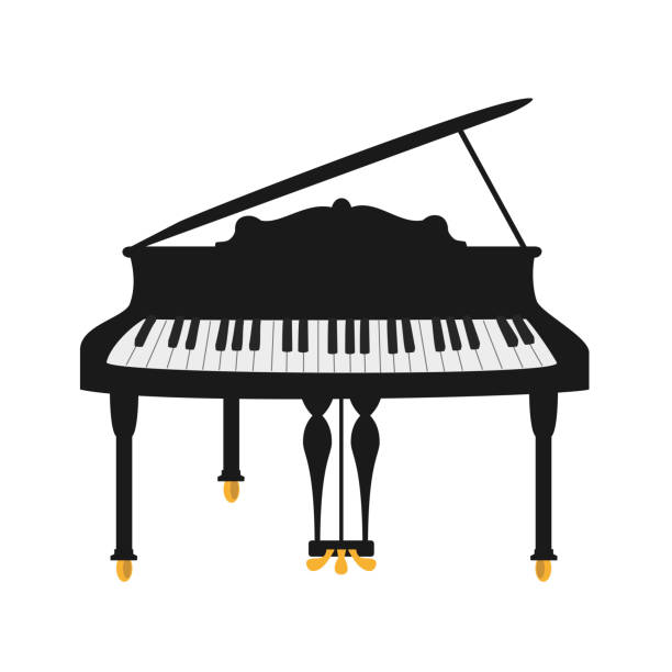 Piano on the white background. Piano on the white background. Vector illustration. good posture stock illustrations