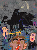 Collage of music makers, singers, pianists, violin player and spectator. Music band