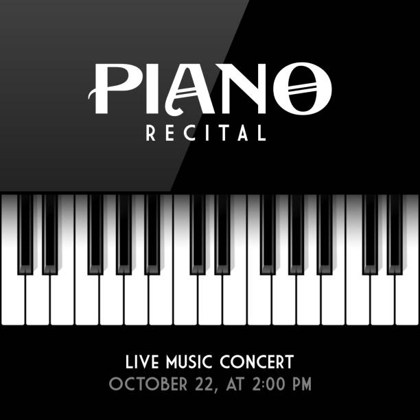 piano recital poster - pianino instrument klawiszowy stock illustrations