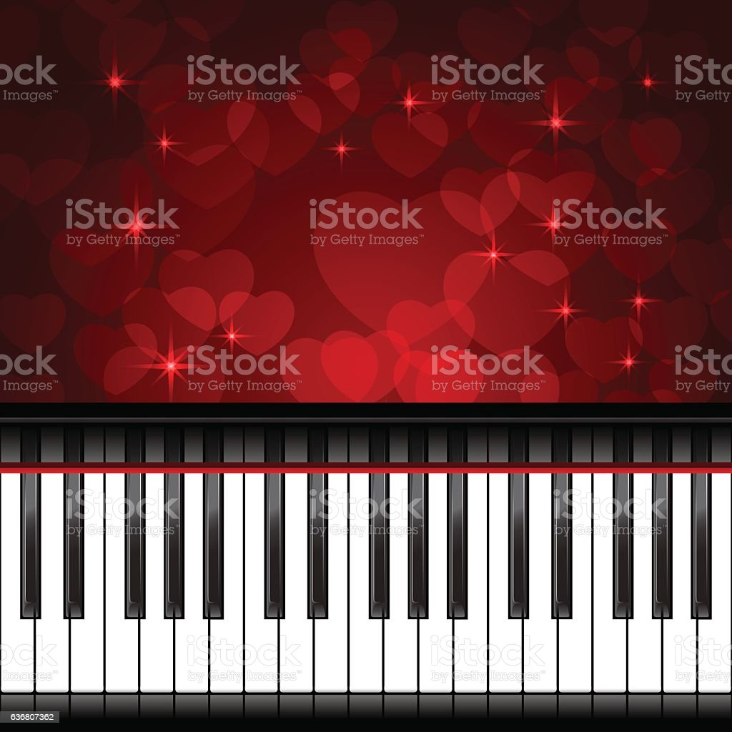 Piano Template With Hearts Royalty Free Stock Vector Art Amp