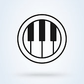 istock Piano tiles logo design element. Line icon illustration. 1255802611