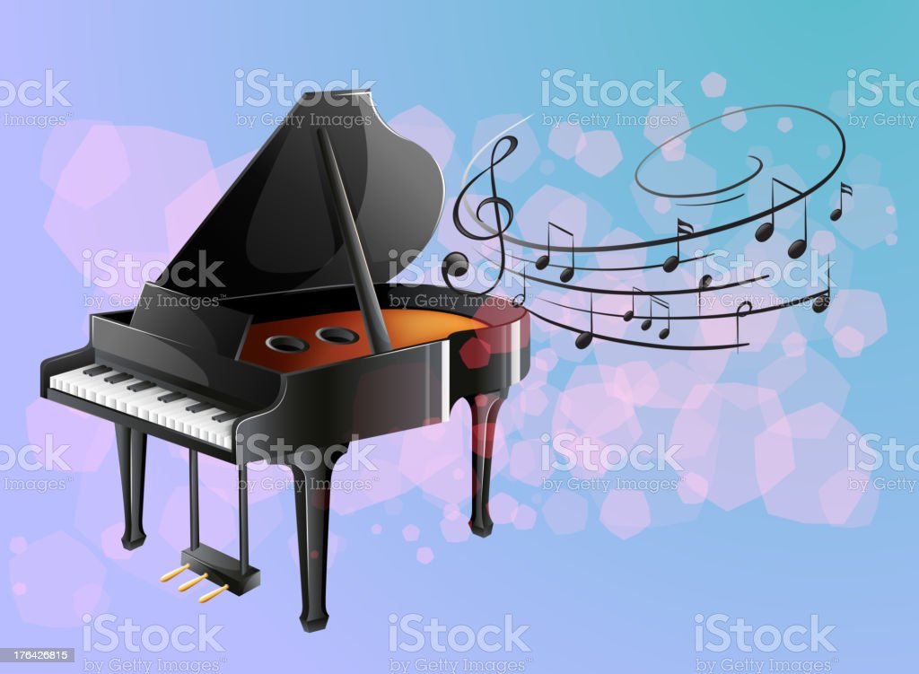 Piano with musical notes royalty-free stock vector art