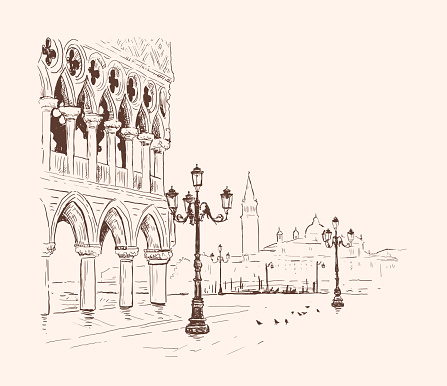 Piazza San Marco, Doge's Palace in Venice, Italy. Hand drawn sketch vector illustration. Romantic cityscape. Tourism Concept. landmark of Venice. Vintage design for t-shirt print, postcard, poster, cover