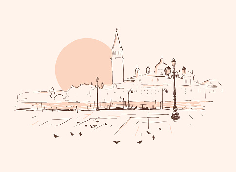 Piazza San Marco, Grand Canal, San Giorgio Maggiore church. Sunset in Venice, Italy. Hand drawn sketch vector illustration. Romantic cityscape.
