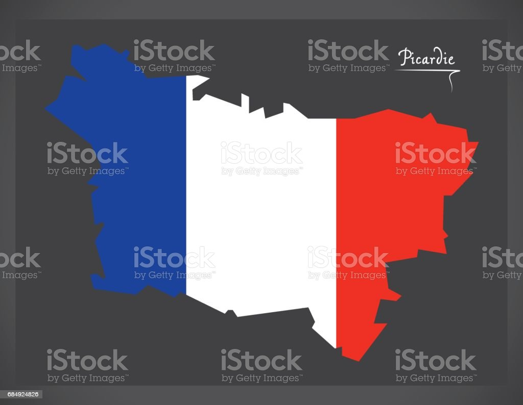 Picardie map with French national flag illustration vector art illustration