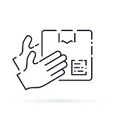 Pick up point for receive order and collect parcel, delivery services and shipping concept. Package shipment with hands holding box, vector line illustration