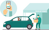 Order groceries online. Pick up point in food supermarket. Safe shopping during coronavirus COVID-19 quarantine. Flat vector concept