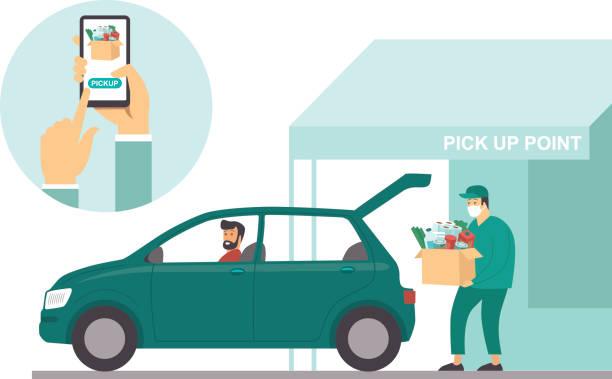 Pick up point in food supermarket. Safe shopping during coronavirus COVID-19 quarantine vector art illustration