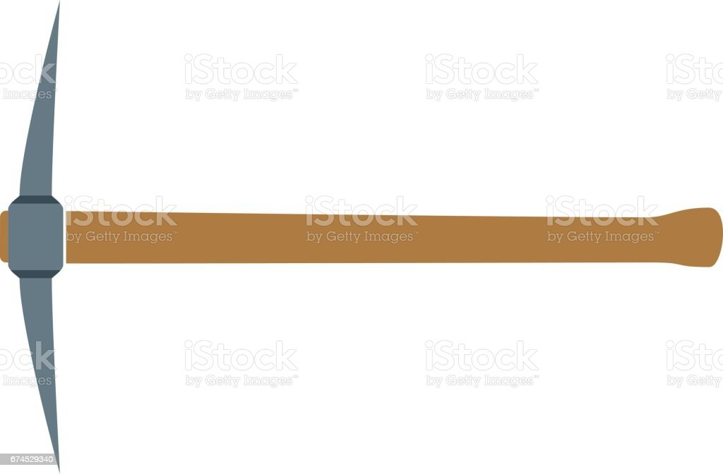 Pickaxe with wooden handle vector art illustration