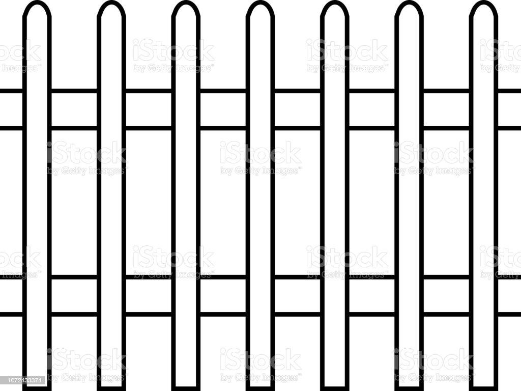 Lattenzaun, schwarz und weiß – Vektorgrafik