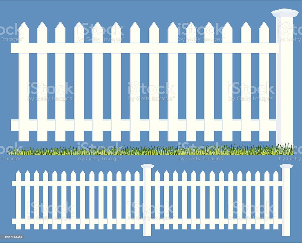 Picket Fence Boundary and Grass royalty-free stock vector art