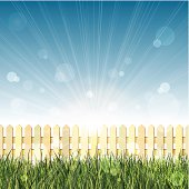 Spring background with long grass, picket fence and lens flare. Layered EPS10 with transparencies. Individual textures and elements. Hi-res JPG and AICS3 files included. Related images linked below.  http://i161.photobucket.com/albums/t234/lolon5/seamless.jpg