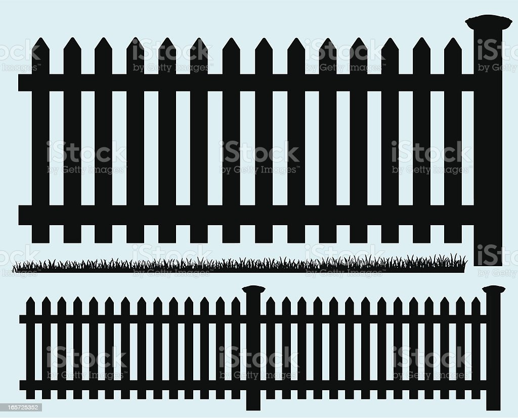 Picket Fence - Silhouette and Grass royalty-free picket fence silhouette and grass stock vector art & more images of boundary