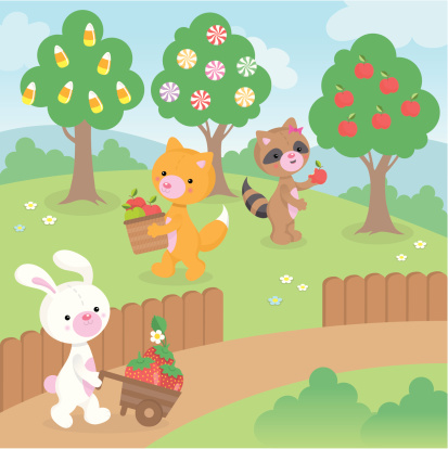 Picking fruit and candy cute kawaii animals
