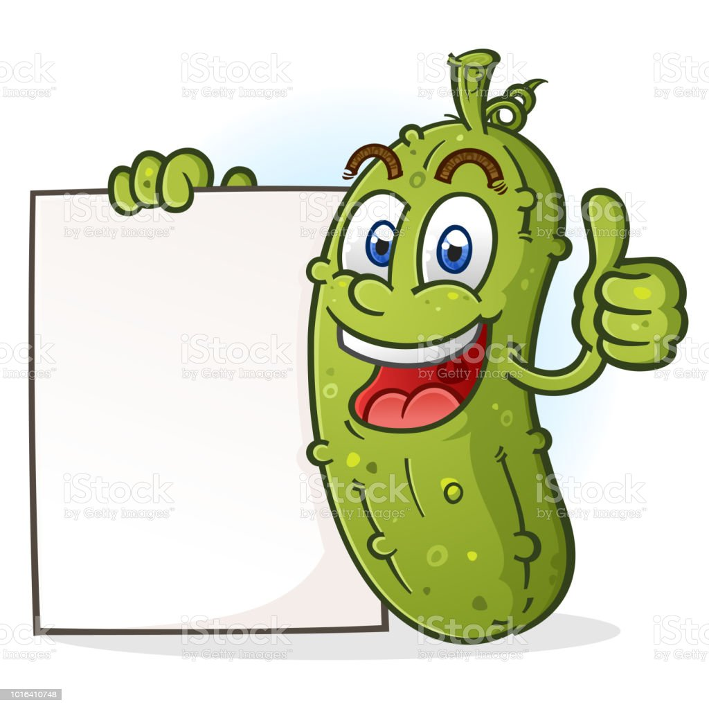 pickle cartoon character giving a thumbs up holding a blank poster