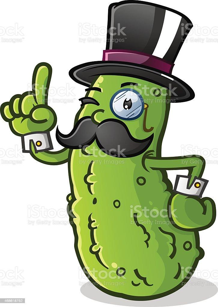 Pickle Gentleman Cartoon Character vector art illustration