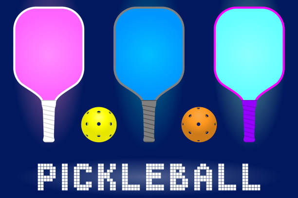 pickleball paddle rackets and balls pickleball paddle rackets and balls. set of sport equipment for hobby game in modern color. stock vector illustration table tennis racket stock illustrations