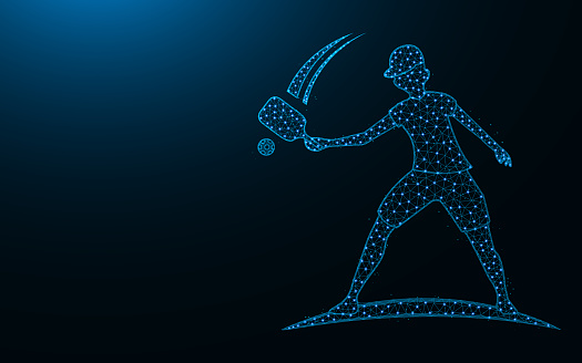Pickleball player low poly icon, Sport wireframe mesh polygonal vector illustration made from points and lines on dark blue background