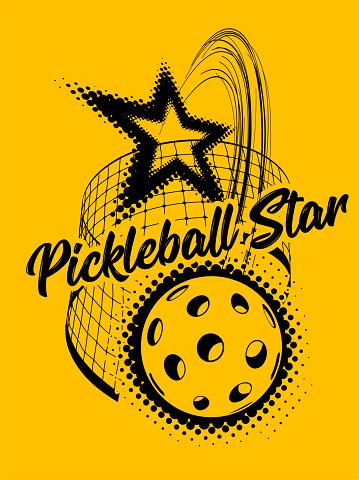 Pickleball vector illustration on yellow background